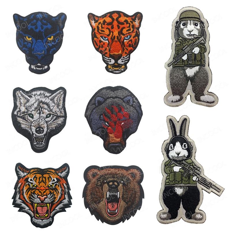 Tier Stickerei Patch Leopard Tiger Bär Wolf Bee Kaninchen Taktische Militärische Moral Patches Appliques Emblem Gesticktes Abzeichen