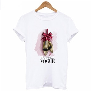 High-heeled Shoes Print T-shirt pop for Women Korean Clothes Summer Short Sleeve Funny T Shirts Women White Tshirt Tops Clothing