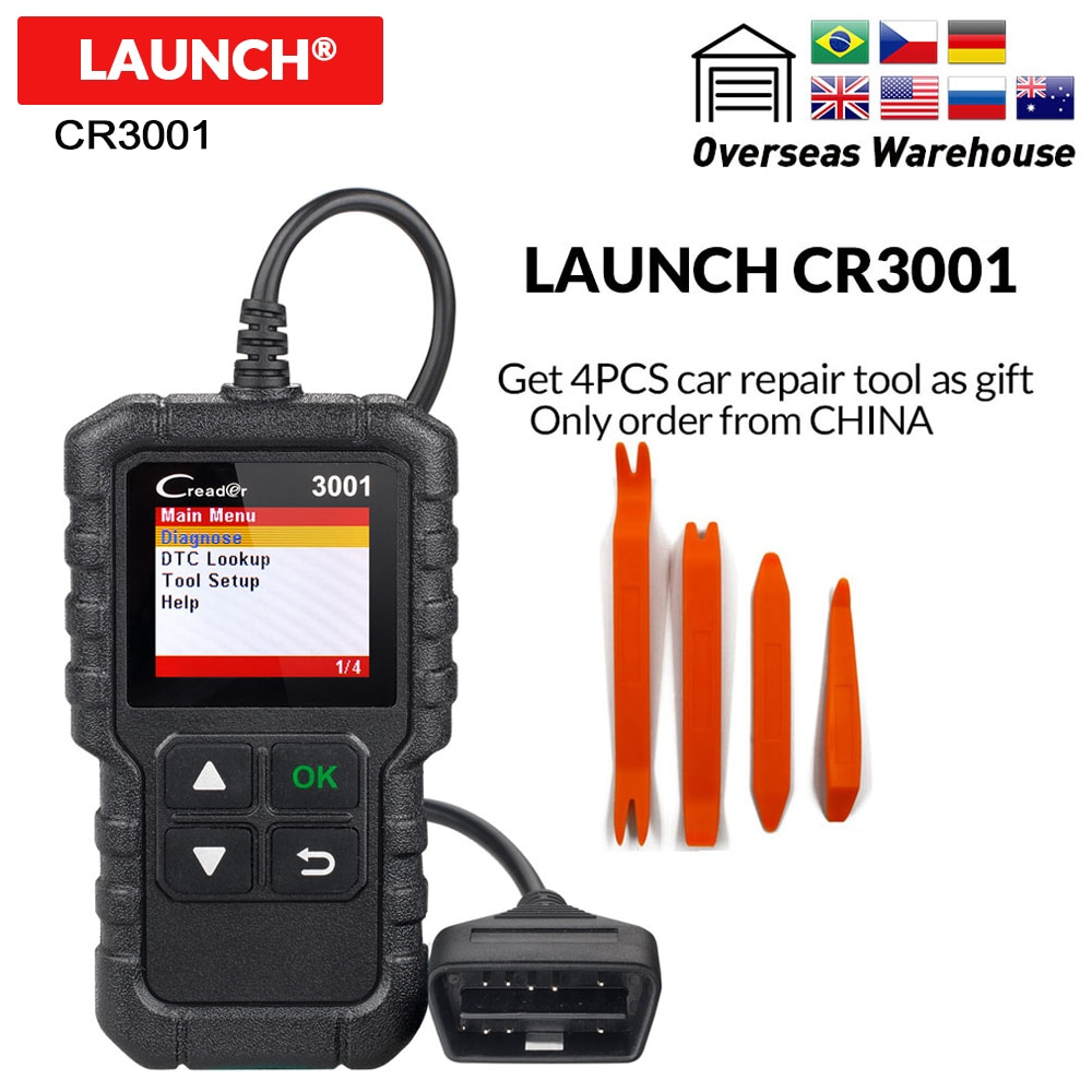 LAUNCH X431 CR3001 OBD2 Auto Scanner Diagnostic Tool in Russian Creader 3001 Code Reader PK ELM327 AD310 KW590 AL519