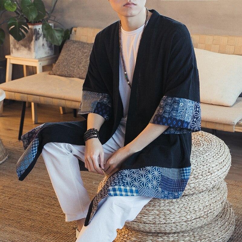 Estilo chino cortavientos hombres étnicos han suelto gran algodón Lino moda 80 s ropa hombres antiguo estilo top abrigo dropshipping