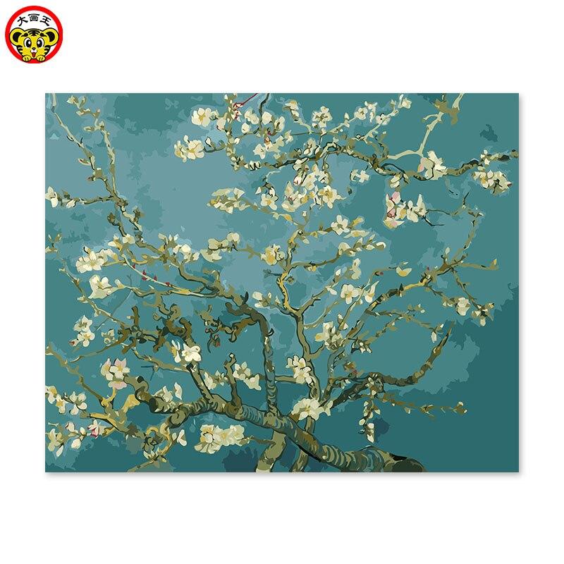 Pintura por números, pintura artística por números, decoración DIY para sala de estar, pintura de fondo del sofá Flor de albaricoque de Van Gogh flower