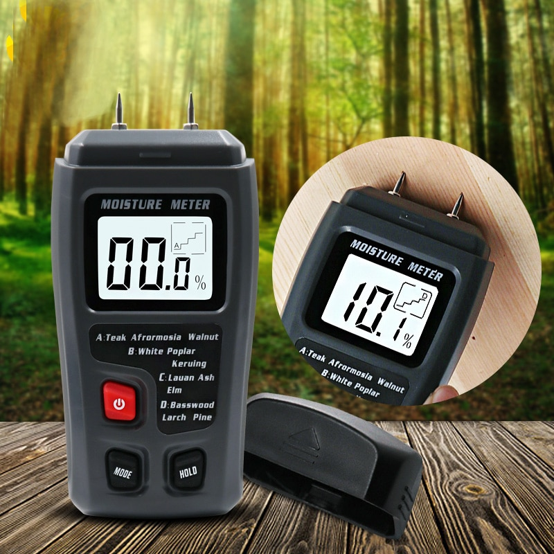 EMT01 0-99.9% Two Pins Digital Wood Moisture Meter Wood Humidity Tester Hygrometer Timber Damp Detector Large LCD Display