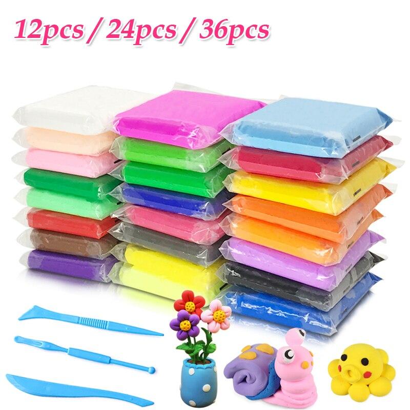 12pcs 24pcs 36pcs/lot Air Drying clay plasticine Baby Care Handprint Polymer Slime DIY Soft Creative Handgum Educational Clay