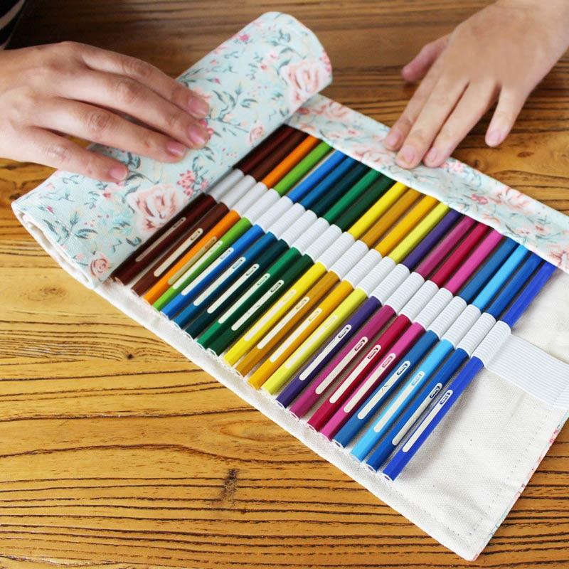 Estuche de lápices con 36/48/72 orificios, estuche de lona con estampado de flores para oficina, escuela, suministros de arte, estuche para lápices de almacenamiento