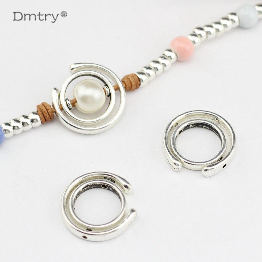 Dmtry 5 uds joyería de moda redonda con espaciador redondo para hacer joyería hallazgos con cuerda de cuero DIY LC0111