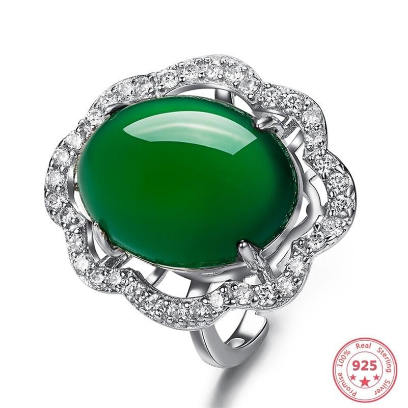 Anillo De plata De ley S925 con diamantes De Esmeralda, anillo Retro Natural turquesa, Anillos De piedras preciosas De bisutería para boda