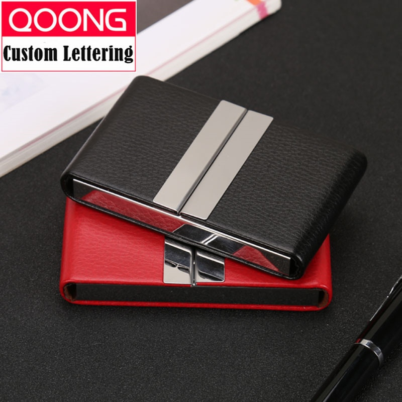 deli business name card box big capacity credit card holder memo pad QOONG NEW Leather Double Open Credit ID Card Holder Big Capacity Travel Card Wallet Business Card Case Metal Wallet Cardholder
