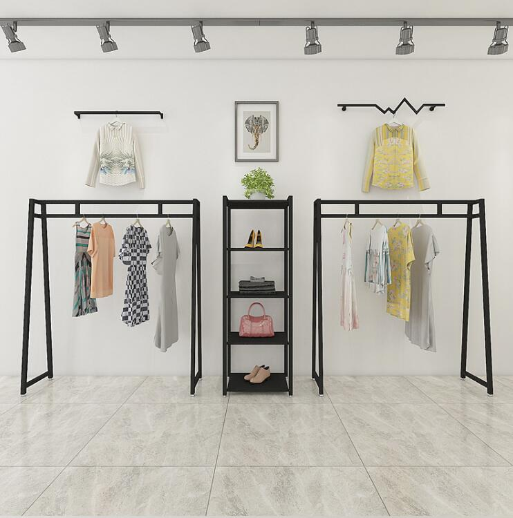 Tieyi Retro Clothing Shop Exhibition Rack, Golden Men's and Women's Hanging Rack Exhibition Rack, European Landing Clothes