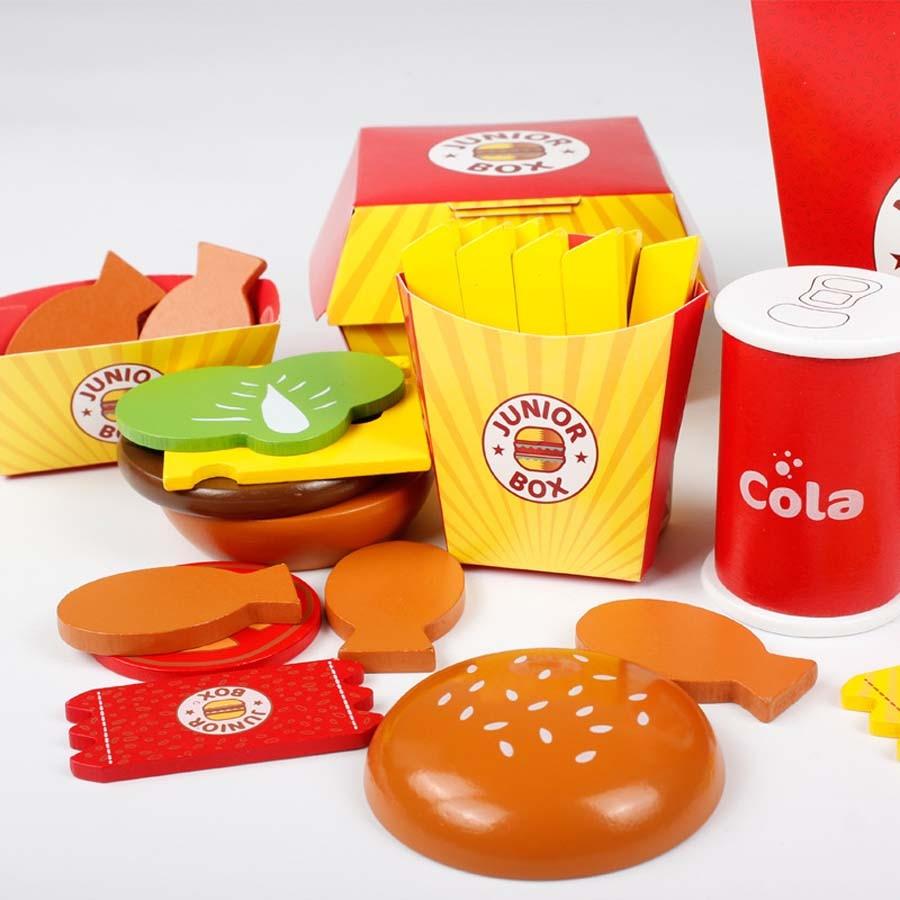 Juguete de comida rápida, hamburguesa francesa, juguetes de madera, modelo ensamblado, juguetes educativos para niños, casa de juego, cocina