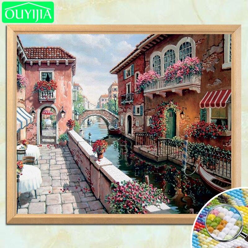OUYIJIA hermosa ciudad del agua pintura al óleo estilo 5D DIY diamante pintura cuadrado completo bordado de diamantes para la venta foto de trabajo a mano