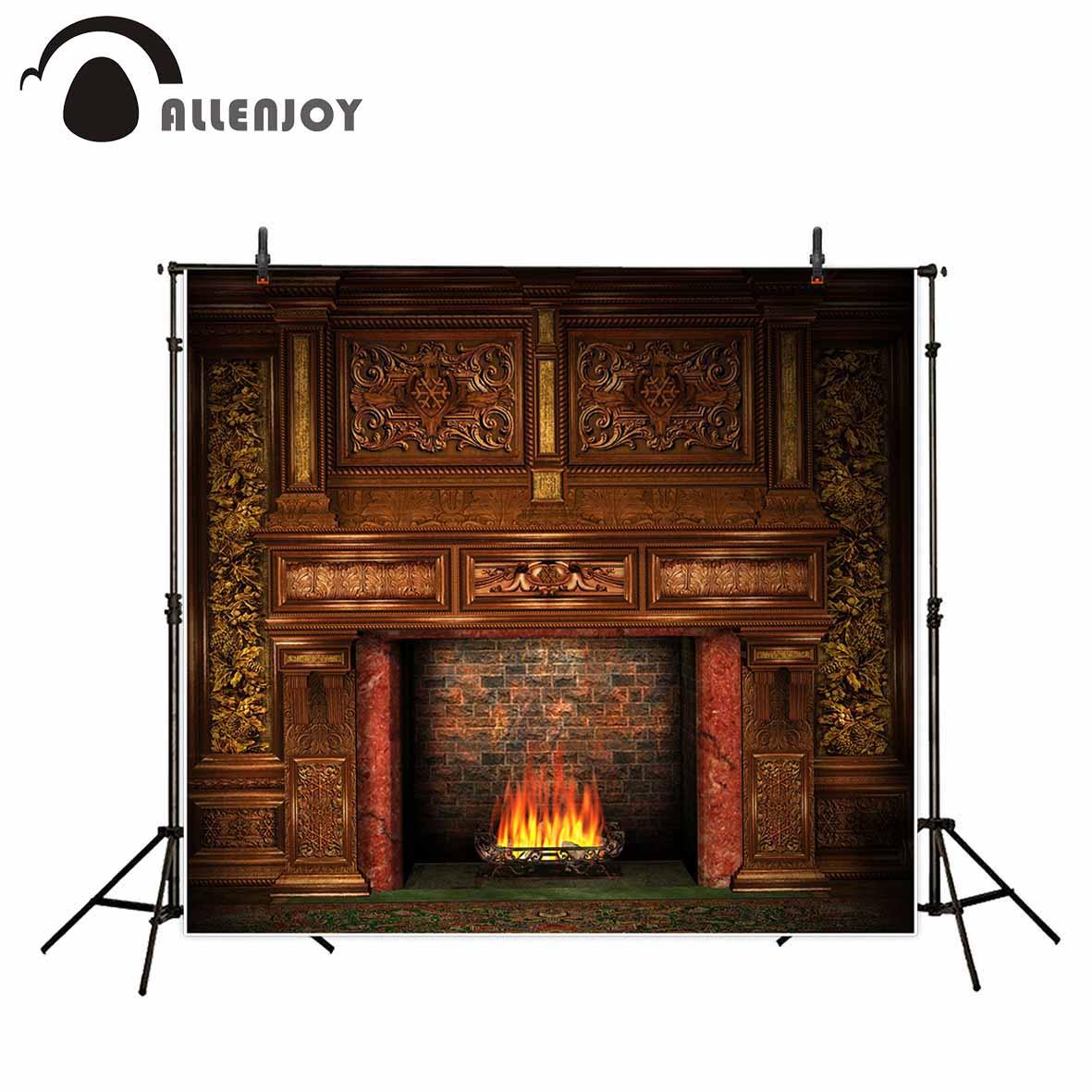 Allenjoy fundo para estúdio de fotos vintage lareira de luxo natal tijolo background photobooth impresso newborn photocall