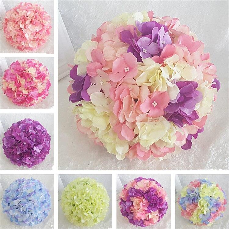 Bola decorativa con flores colgantes, centros de mesa, hortensias de seda, bolas de flores para boda, pompones, menta, Bola de decoración para bodas