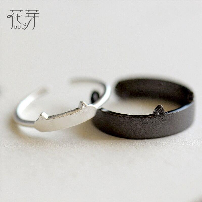 Thaya Schwarz Weiß Katze Ohr 100% S925 Sterling Silber Paar Ring Weiblichen Edlen Schmuck Einfache Handgemachten Mode für Frauen