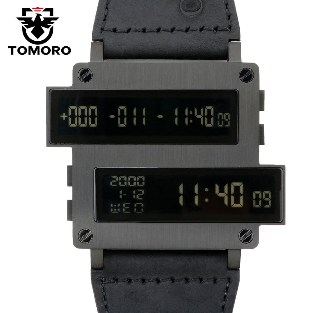 TOMORO ONE LIFE Series Top Man Target Countdown Digital Hours LED Clock Black 316T Steel Calfskin Leather Limited Watch Original