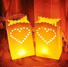50pcs/lot Romantic Heart Tealight Holder Luminaria Paper Lantern Candle Bag Flame Retarded Bag For Christmas Party Wedding