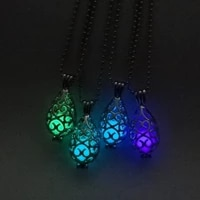 hollow luminous stone pendant necklaces long chain necklace glowing in the dark women pendant jewelry