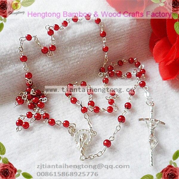 Envío Gratis, 10 unidades por paquete, Rosario de cuentas de perla de cristal de imitación de 4mm, rosario de perlas, Rosario bonito, collar de mini Virgen María