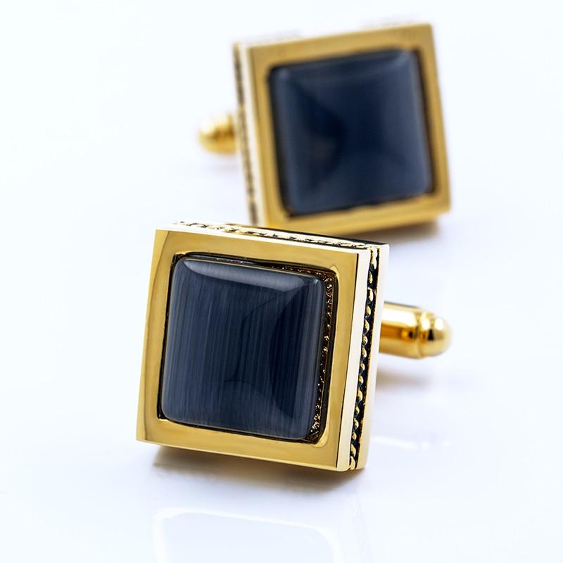 Marca KFLK, botones de puños de camisa para hombre, gemelos cuadrados de ópalo negro de alta calidad, botón de regalo de boda, nuevos productos 2020