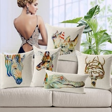 Decorative Pillow Covers Elegan Animal Decorative Pillows Giraffe Crocodile Deer Sequin Throw Pillows Cotton Linen Pillow Cover