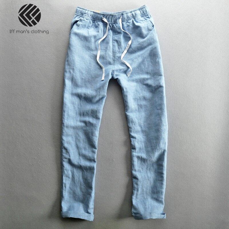 Hombres 2019 moda de verano de marca de Color sólido de algodón de lino Delgado Pantalones rectos masculino Casual suelta pantalones sencillos de Color azul caqui