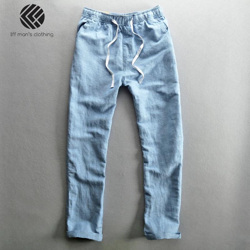 Men 2019 Summer Fashion Brand Solid Color Cotton Linen Thin Straight Pants Male Casual Loose Simple Trousers Blue Khaki Pants