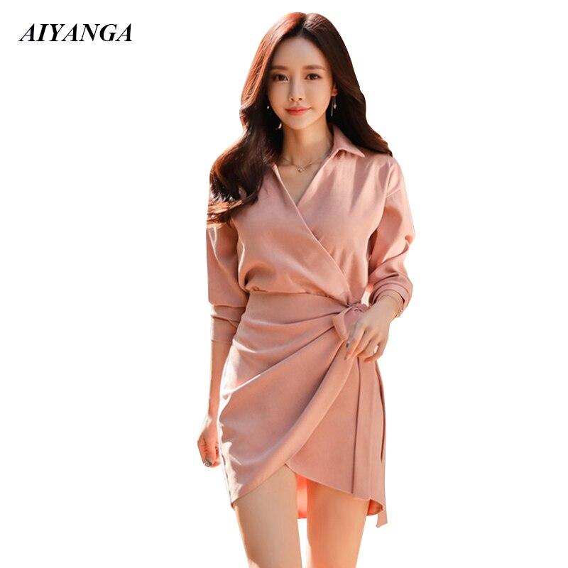 Vestido elegante OL para mujer, vestidos de primavera 2019 Sexy de manga larga, vestido de negocios de embalaje cadera corto, Color único rosa