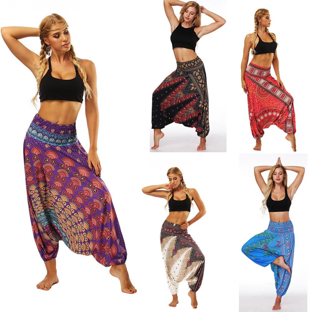 Harem Pants Women's Ladies Casual Summer Loose Trousers Штаны Female Baggy Boho Aladdin Print Casual Fashion Jumpsuit Pants 2019