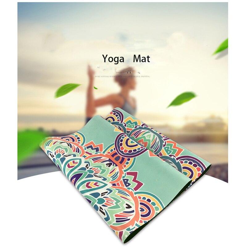 Tempo de Lazer Resistência à Derrapagem Esportes Yoga Impressão Rainbow Flower Proteção Ambiental Borracha Natural Não Alérgica Mat