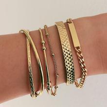 Women Bracelets set Punk Rectangular Square Bead X Shaped Opening Gold Bracelet Personality Birthday Party Jewelry Gift