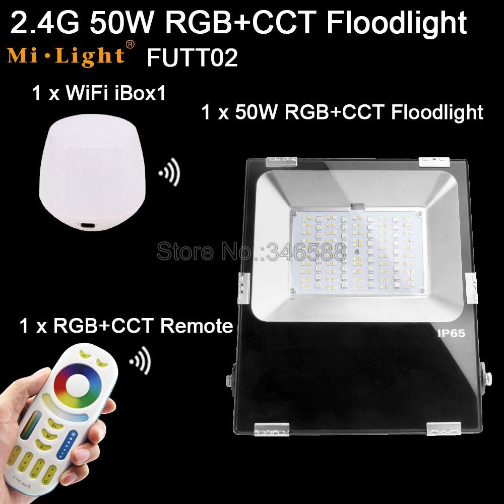 1x Mi. Light 50 Вт RGB + CCT прожектор AC 110 В 220 В вход FUTT02 + 1x WiFi iBox1 лампа + 1x2,4G беспроводной RF 4 зоны сенсорный пульт