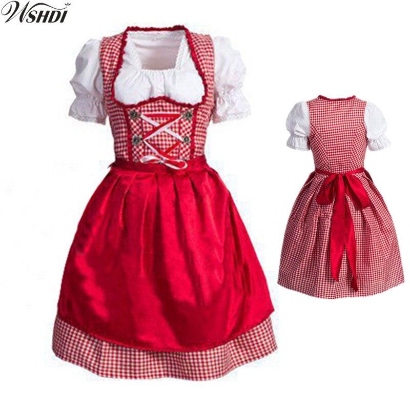 Nuevo Oktoberfest Festival de la cerveza de Octubre Dirndl falda roja de criada vestido de delantal blusa vestido con traje de mujer alemana vestido de fantasía