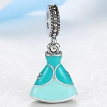 NBSAMENG European Silver Plated Bead Charm Lovely Blue Glaze Princess Cinderella Dress DIY Pendant Fit Women Bracelets & Bangles