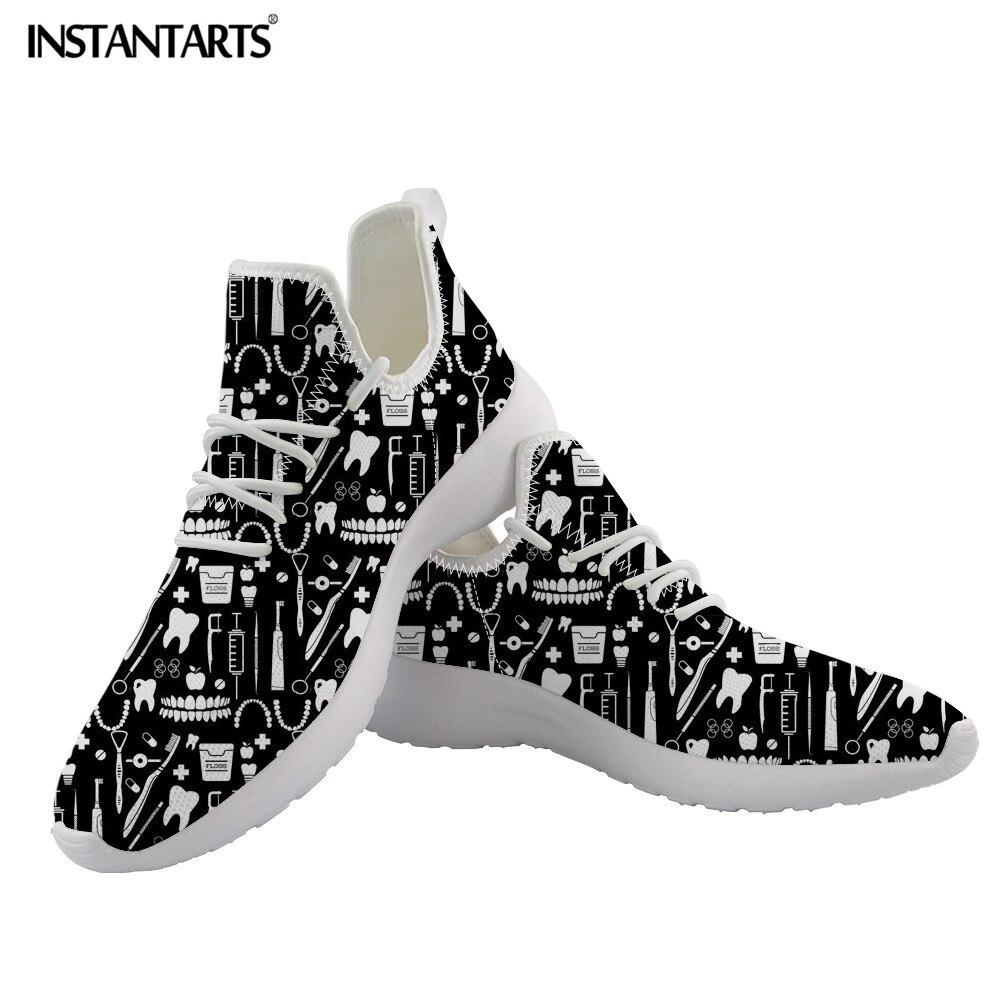 Zapatillas instantáneas con diseño de dientes de odontología, zapatillas con cordones para hombres y mujeres, zapatos informales de enfermería, zapatos transpirables para caminar, zapatillas populares para niños