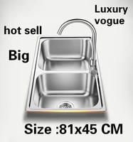 free shipping apartment high quality kitchen double groove sink do the dishes 304 stainless steel large hot sell 810x450 mm