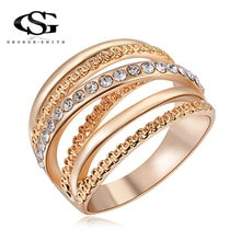 GS 2018 nouvelle couleur or multicouche creux anneaux pour les femmes de haute qualité en acier inoxydable à la mode pile bague hommes bijoux R4