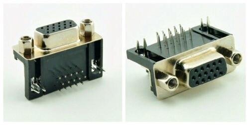 2 piezas D-SUB DB15 ángulo recto 15 pines conector PCB hembra 3 filas interfaz DR15F