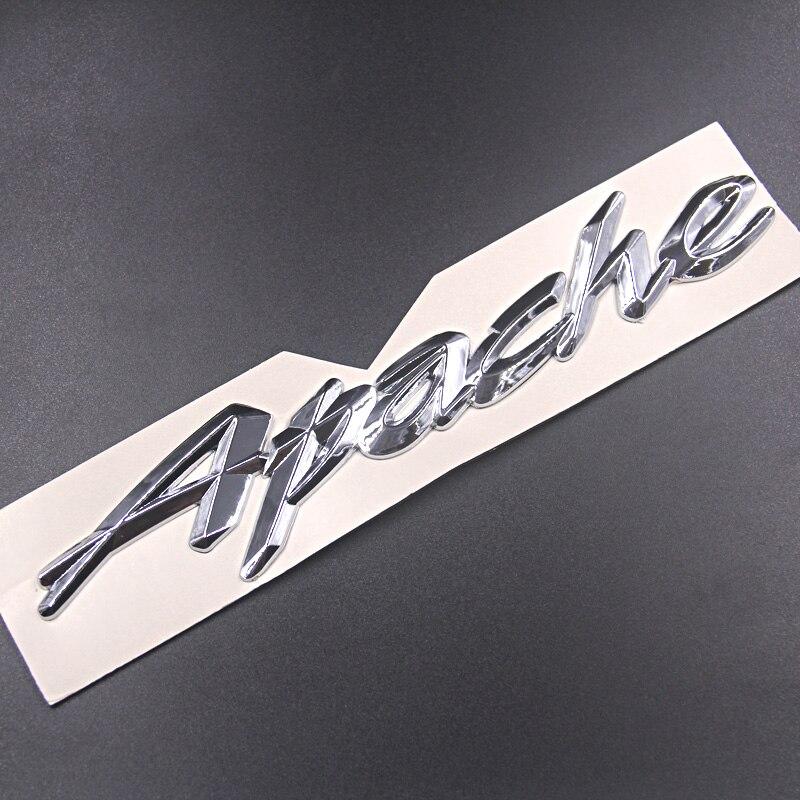 Logotipo de Moto 2 uds APACHE, logotipo de vehículo retroinstalado, Sección de Cruz de metal plateada, logotipo de pegamento para TVS Apache