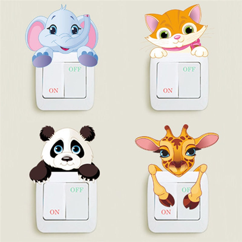 aliexpress.com - Funny Animals Switch Stickers For Home Decoration Elephant Giraffe Cat Panda 3d Mural Art Diy Kids Room Wall Decals Pvc Posters