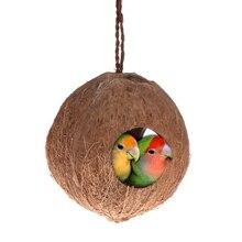 Distributeur de nids doiseaux en coquille de noix de coco   Jouet naturel de perroquet, nourriture cachette de perroquets, jouet doiseau suspendu, maison