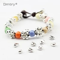 dmtry brand wholesale antique silver plated spacer loose beads irregular tipped bead for handmade diy bracelet jewelry lc0051