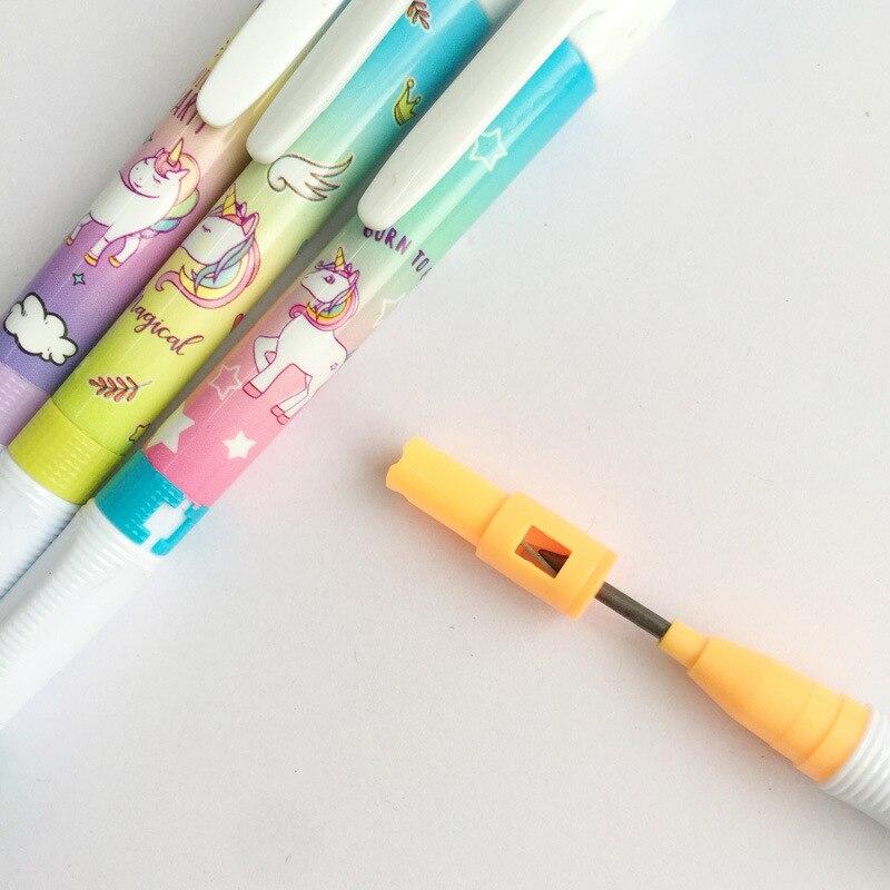 1 Uds arco iris de unicornio con sacapuntas, lápiz mecánico, lápiz de estudiante, bolígrafo automático para chico, escuela, Oficina