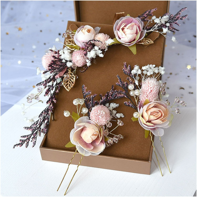 Bride Mori Headdress Dry Lace princess flower Hair Pinch Set Korean bridal Wedding hair Jewelry