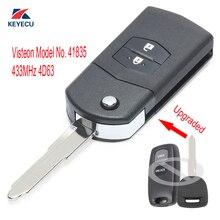 KEYECU Replacement Upgraded Flip Remote Car Key Fob 2 Button 433MHz 4D63 for Mazda 2 3 6 323 626 MVP Visteon Model No. 41835