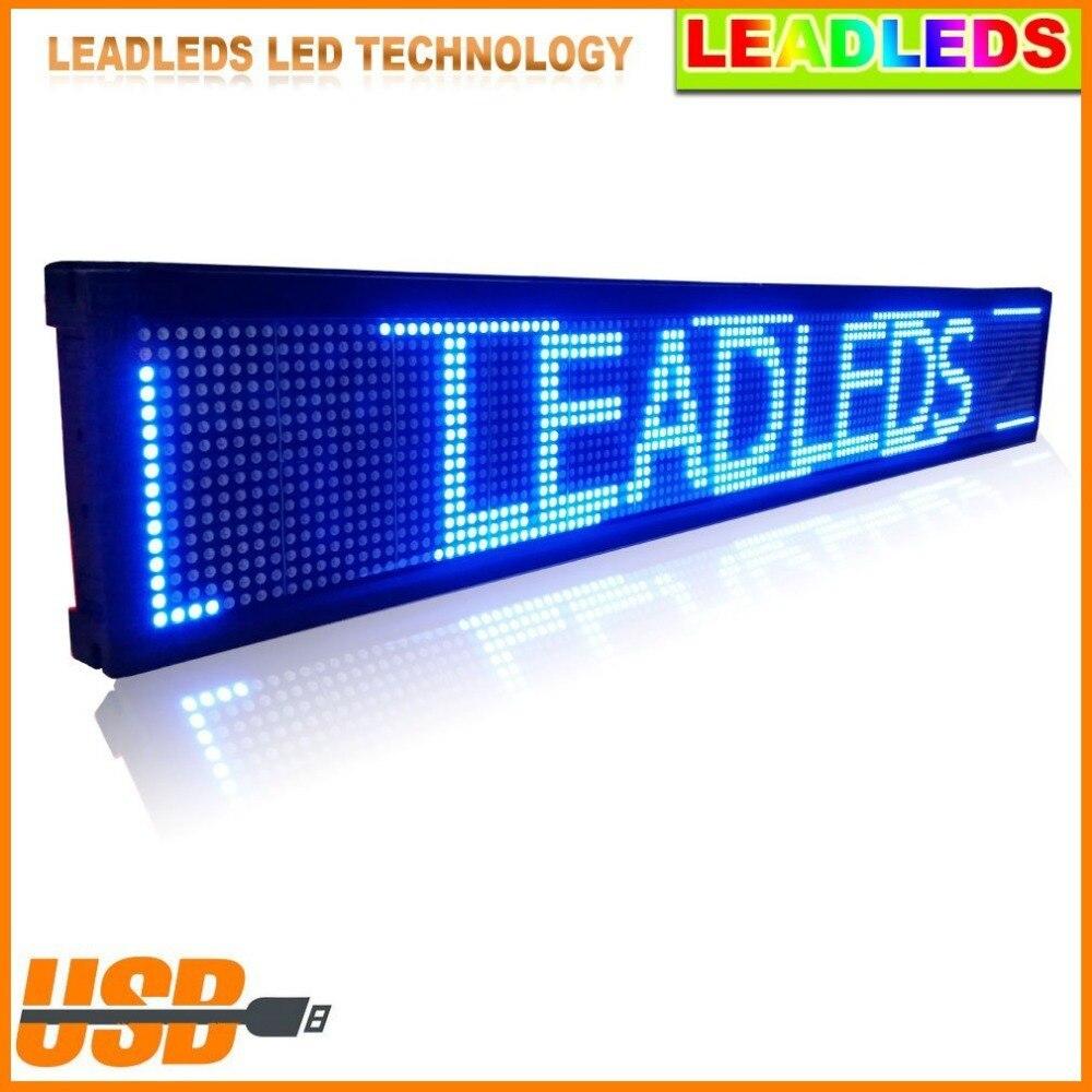 30*6,3 pulgadas P7.62 tablero de señal LED azul pantalla programable desplazamiento mensaje publicidad negocio