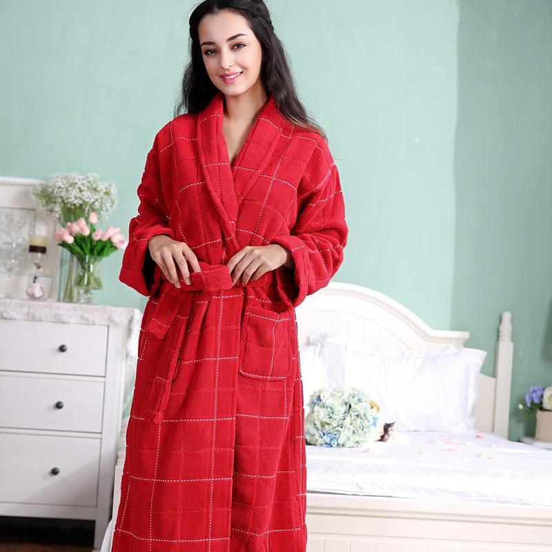 Bata de algodón de Color rojo para mujer, bata de algodón de felpa larga y cálida para mujer