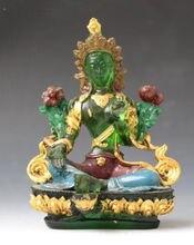 11.5 cm */Boeddhisme Chines Kristalglas Liuli Gekleurde crystal boeddhabeeld