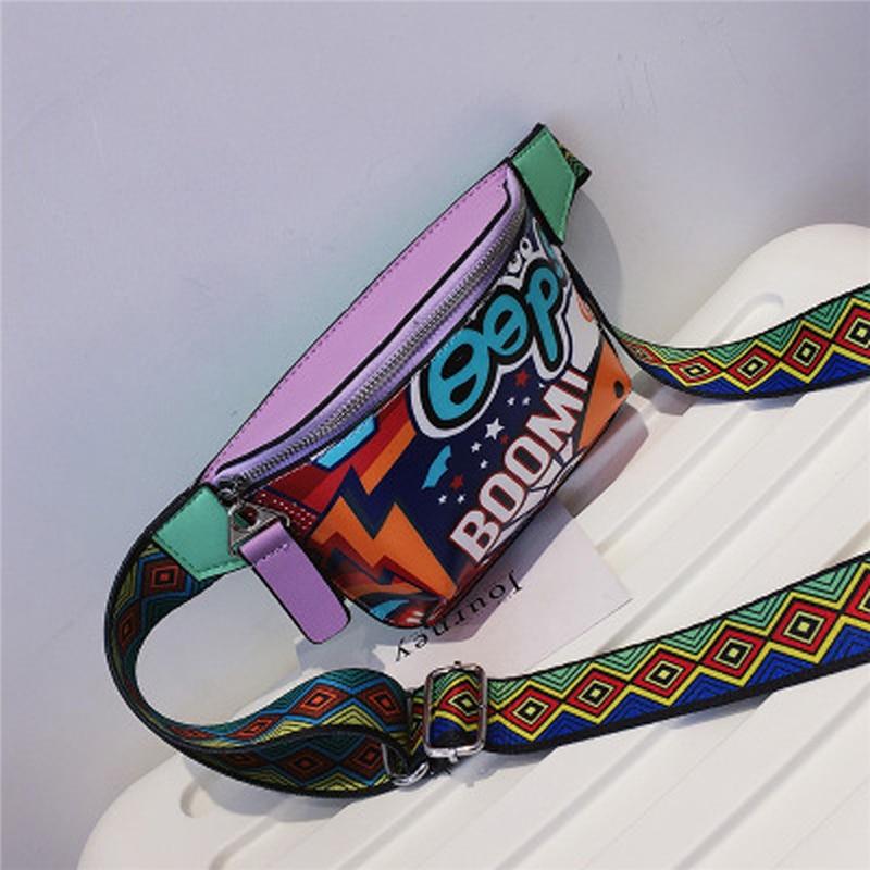 Bolso bandolera de piel sintética con diseño elegante de Patchwork con cadena para teléfono