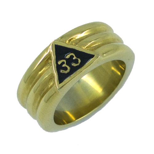 Złoty 33 masoński pierścień ze stali nierdzewnej biżuteria klasyczny masoneria Mason Biker mężczyźni pierścień hurtownie SWR0022G