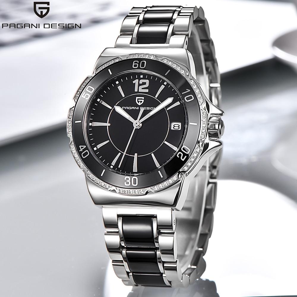 Marca Pagani, relojes de cuarzo para mujer, precioso reloj femenino de diamante, pantalla analógica, reloj de pulsera de cerámica negra para mujer