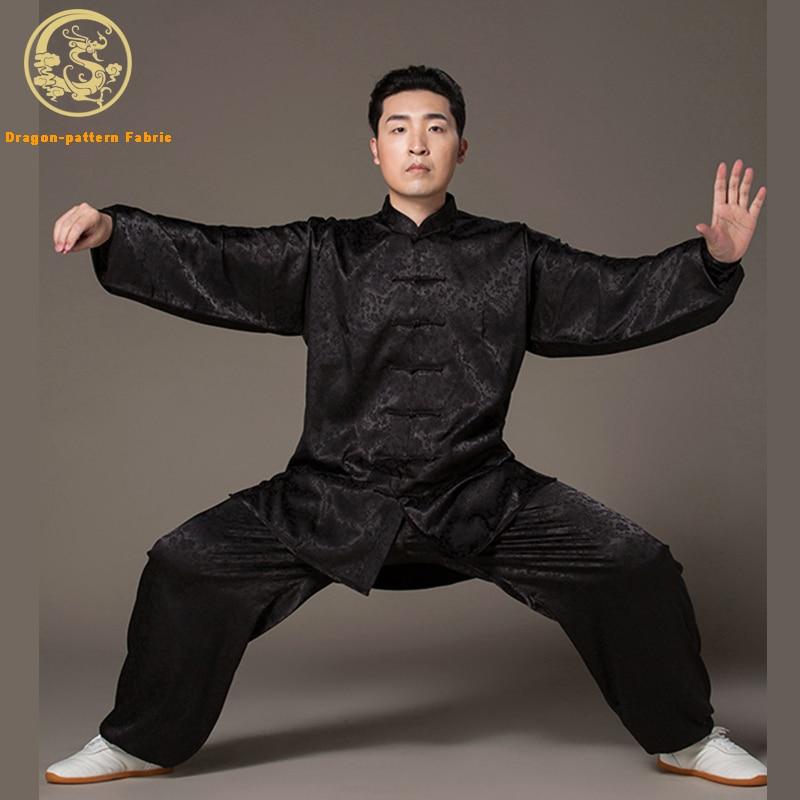 Тай-чи одежда для мужчин и женщин дракон шаблон вискоза ткань спортивная одежда Тайцзицюань практика Ушу одежда Кунг-Фу Униформа